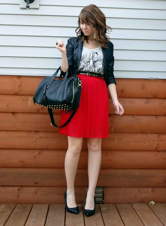 swan tank top red pleated skirt edgy office style outfit