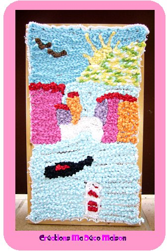 tableau paysage en laine crochet fini cr ations ma d co maison. Black Bedroom Furniture Sets. Home Design Ideas