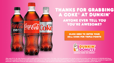 get triple my coke reward points from dunkin donuts