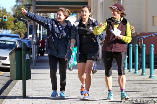 L-R: Olivia Addis, Havelock North, Natalya Taylor, Anita Aitken-Taylor, Te Awanga, outside the Napier Municipal Theatre, Tennyson St, Napier, taking part in a Locals Day i-Spy Fun Challenge, run by Napier i-SITE. photograph