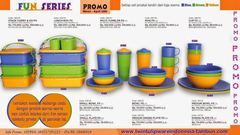 Promo Twin Tulipware Fun Series Maret - April 2015 ~ Diskon