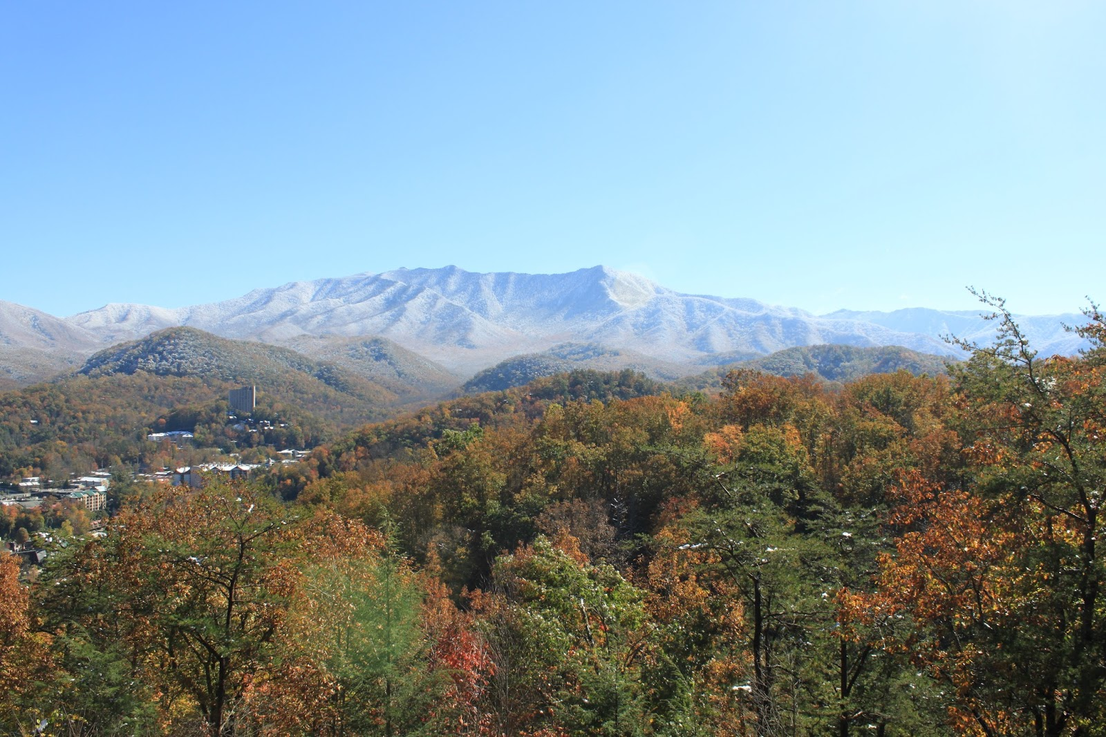 gatlinburg, autumn, mountain top, snow