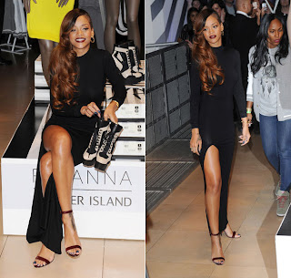 "Singer Rihanna poses during the launch of her collection ""Rihanna for River Island"""