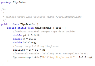 Contoh Tipe Data Floating Point (Java)