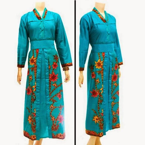 Baju Batik Dress Muslim motif bunga