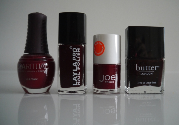 Vampy red and deep burgundy nail polishes for Autumn/Winter 2013. Butter LONDON 'La Moss', Joe Fresh 'Cabernet' | Right: Spa Ritual 'Kiss the Cook', Layla Pro N.14