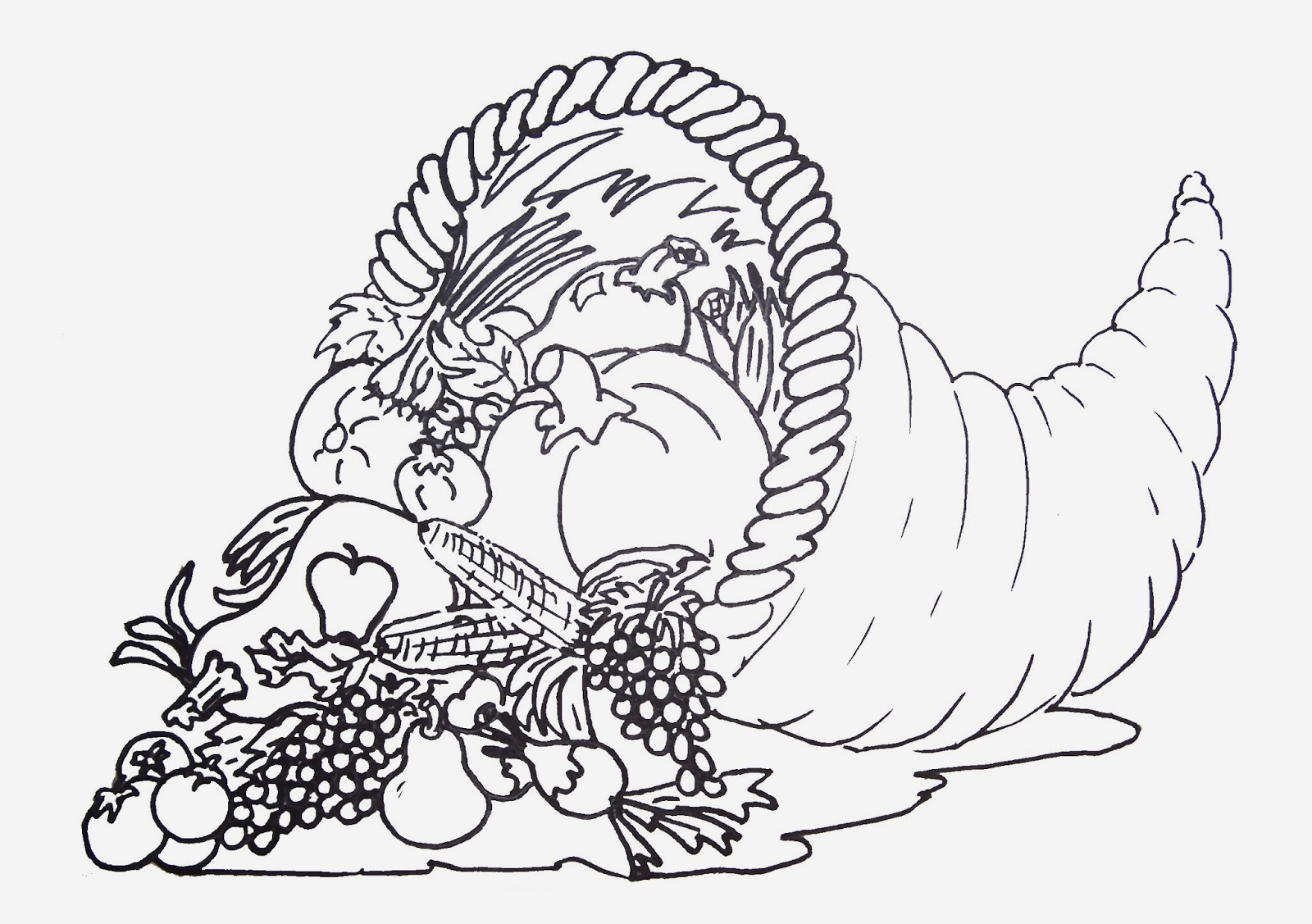 Printable adult thanksgiving coloring sheet - Free Printable Coloring Page Of Cornucopia To Download