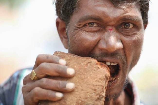 Indian Man Is Addicted To Eating Nothing But Bricks