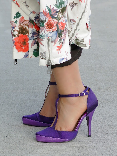 Guess floral moto jacket and purple t-strap shoes
