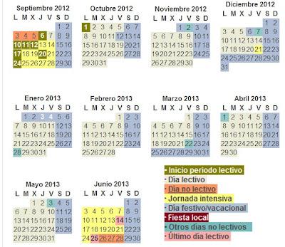 Calendario escolar en Madrid para el curso 2012/2013