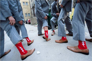 Funky red groomsmen socks