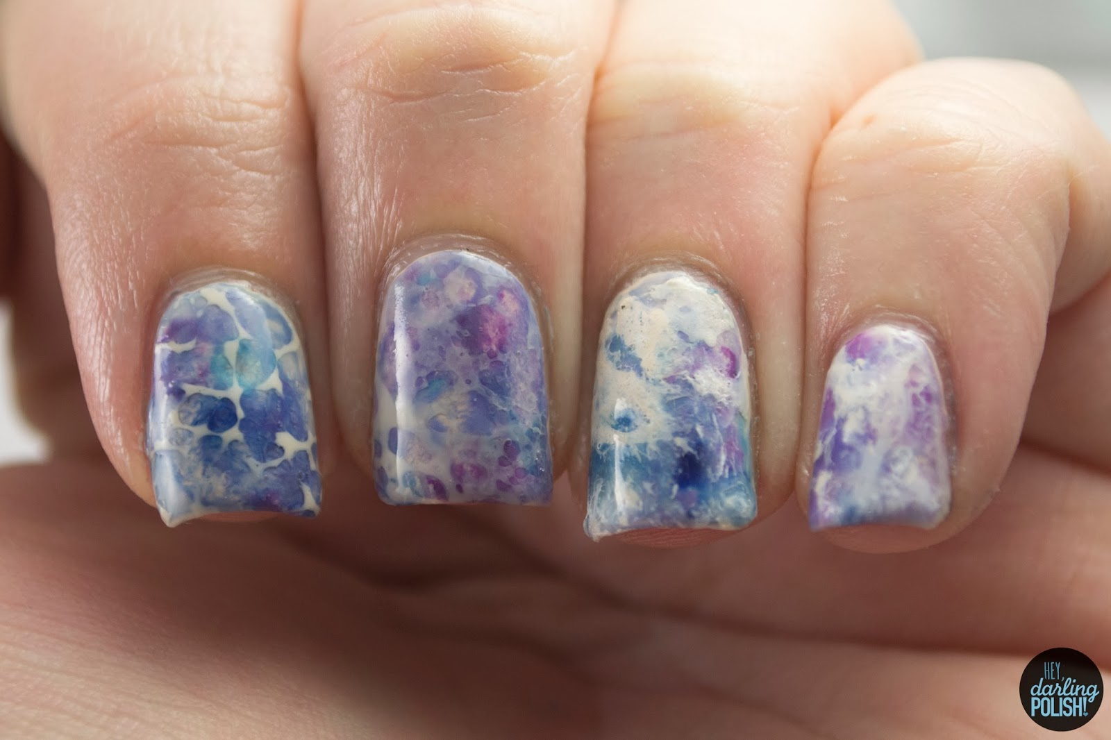 nails, nail polish, nail art, polish, watercolor, blue, purple, hey darling polish, nail art a go go