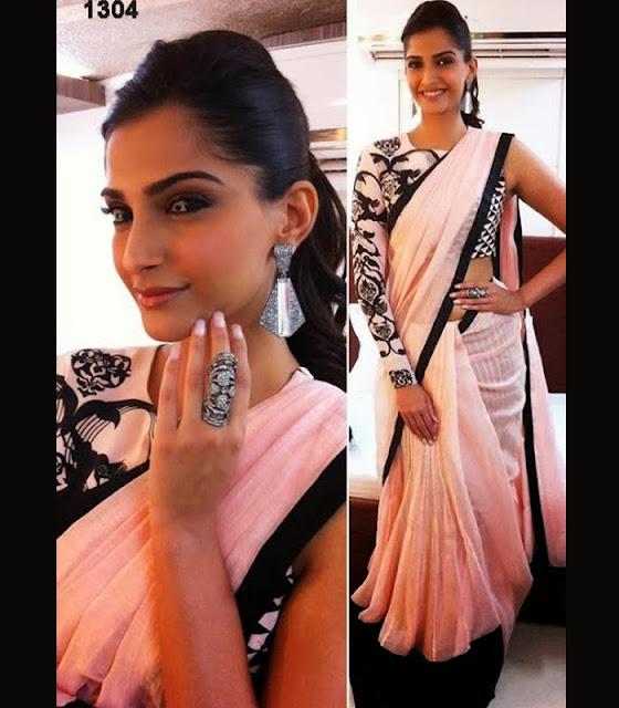 Sonam Kapoor in black designer saree