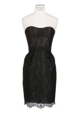 Matthew Williamson black lace and satin bustier dress