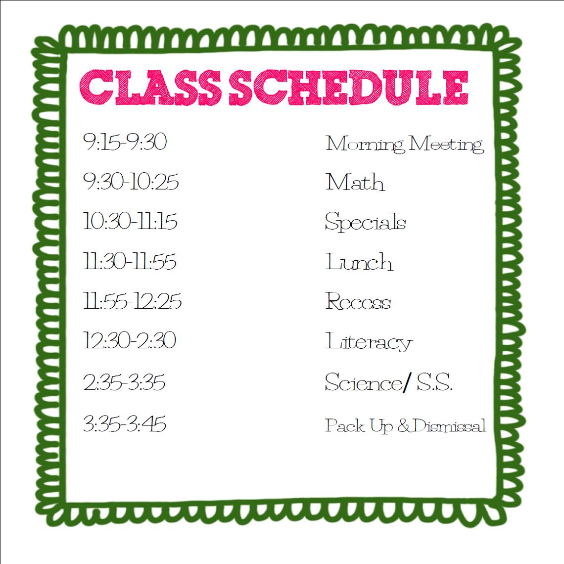5th Grade at a Glance: Class Schedule for 2012-2013