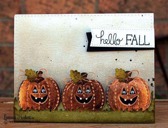Pumpkin card by Larissa Heskett | Pick-a-Pumpkin stamp set by Newton's Nook Designs #newtonsnook #pumpkin