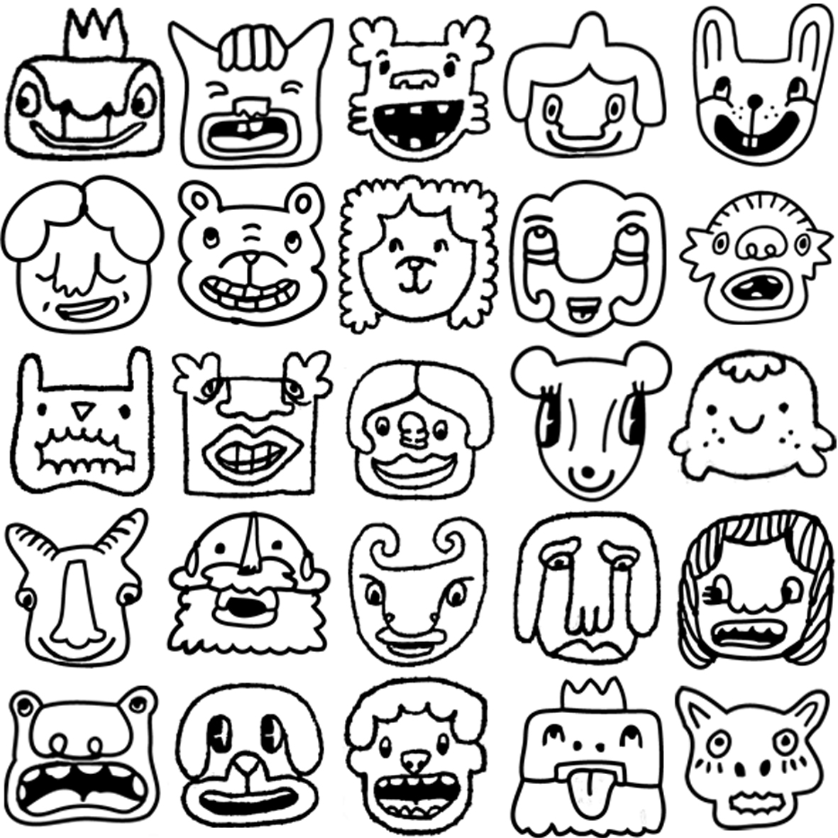 Funny faces coloring pages for Funny faces coloring pages