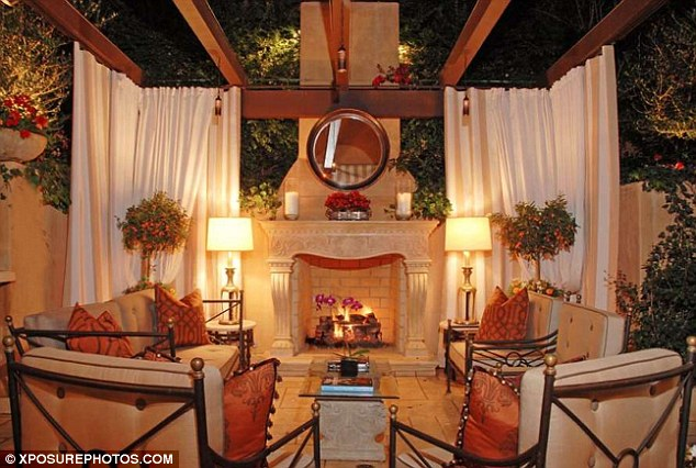 Picture of outdoor fireplace and the furniture