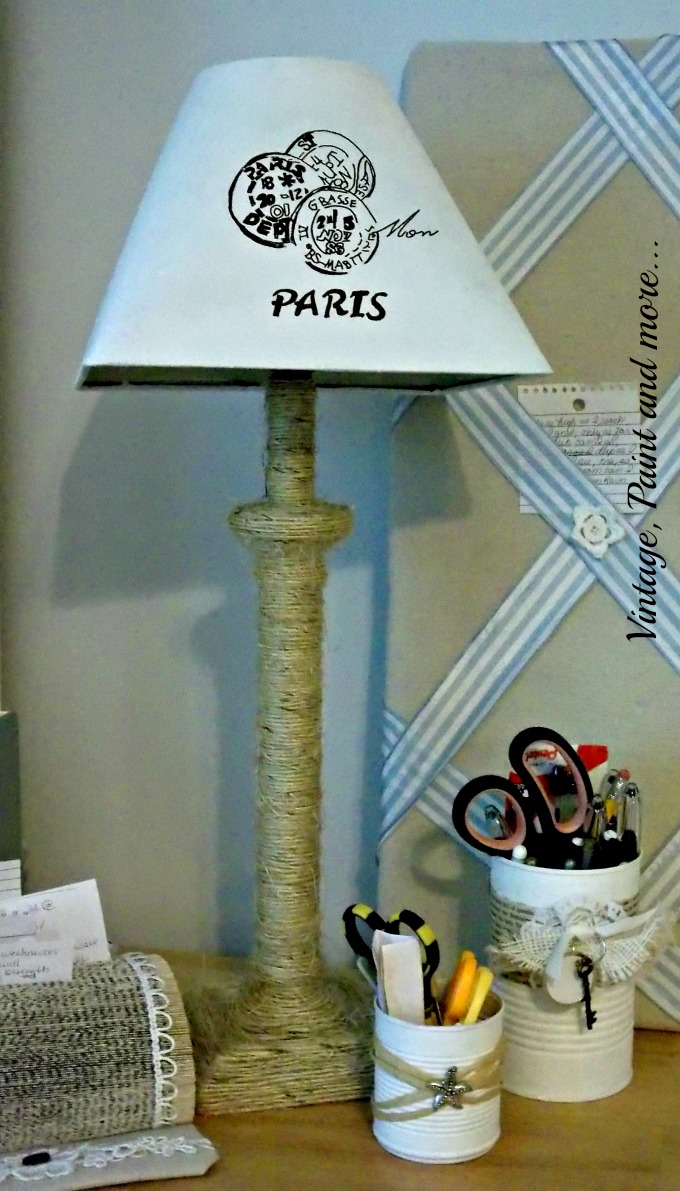 Vintage, Paint and more... - twine craft, DIY lamp, recycled tin cans,