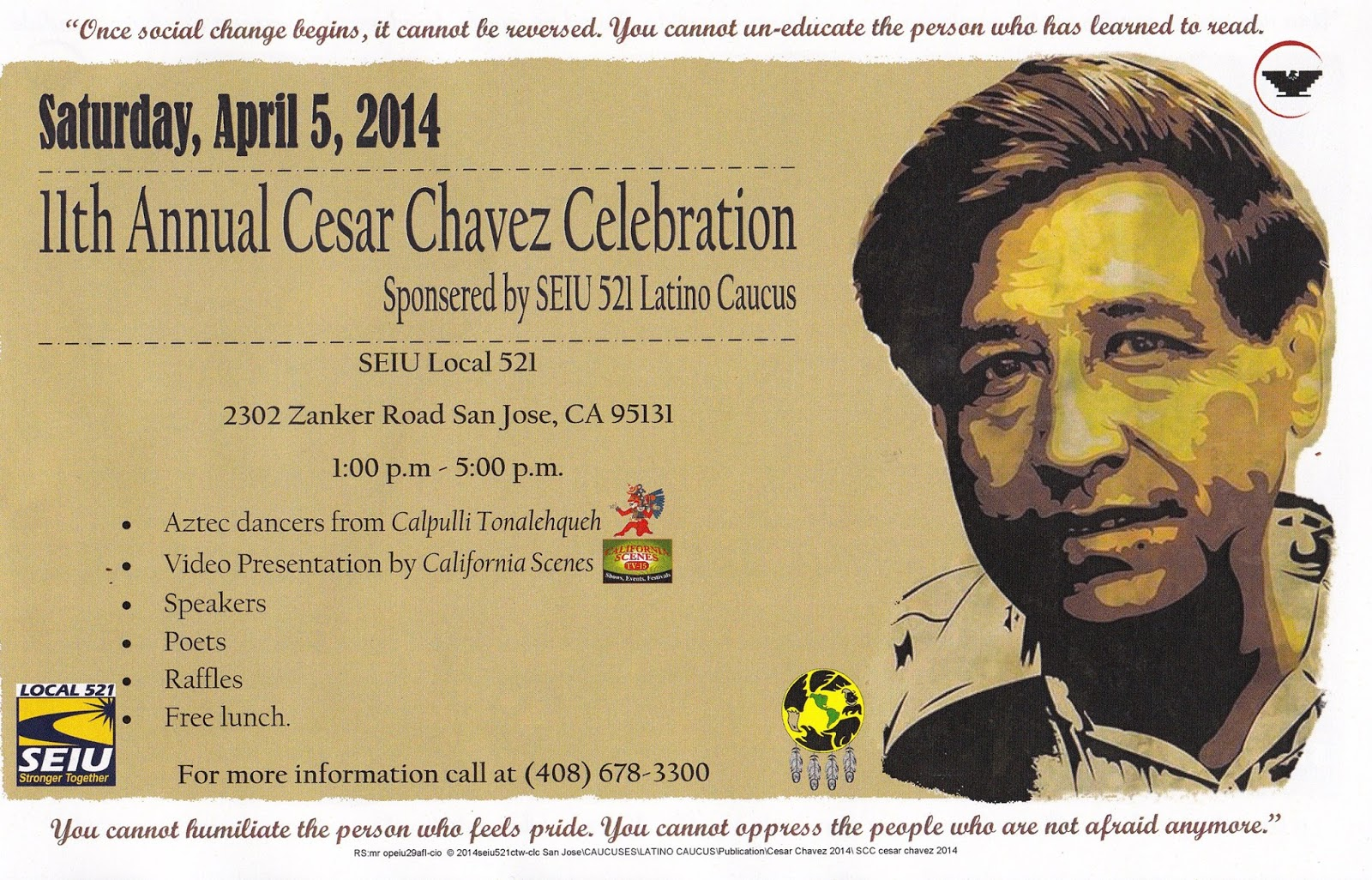 the life and times of cesar e chavez Cesar e chavez legacy & educational foundation added 2 new photos — with irene chavez march 31 at 8:27am leon valley, tx today, several communities are celebrating cesar e chavez by participating in a day of service.