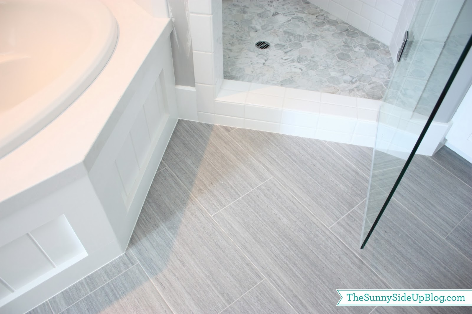 My girls 39 new bathroom the sunny side up blog for White tile flooring ideas