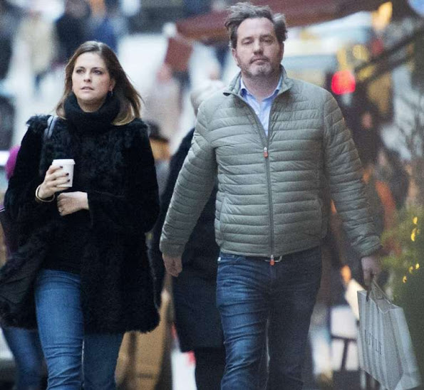 Princess Madeleine of Sweden and Chris O'Neill was seen in Stockholm while shopping for the christmas
