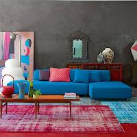 diseño de sala decorada con turquesa
