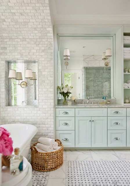 traditional gray subway tile master bathroom