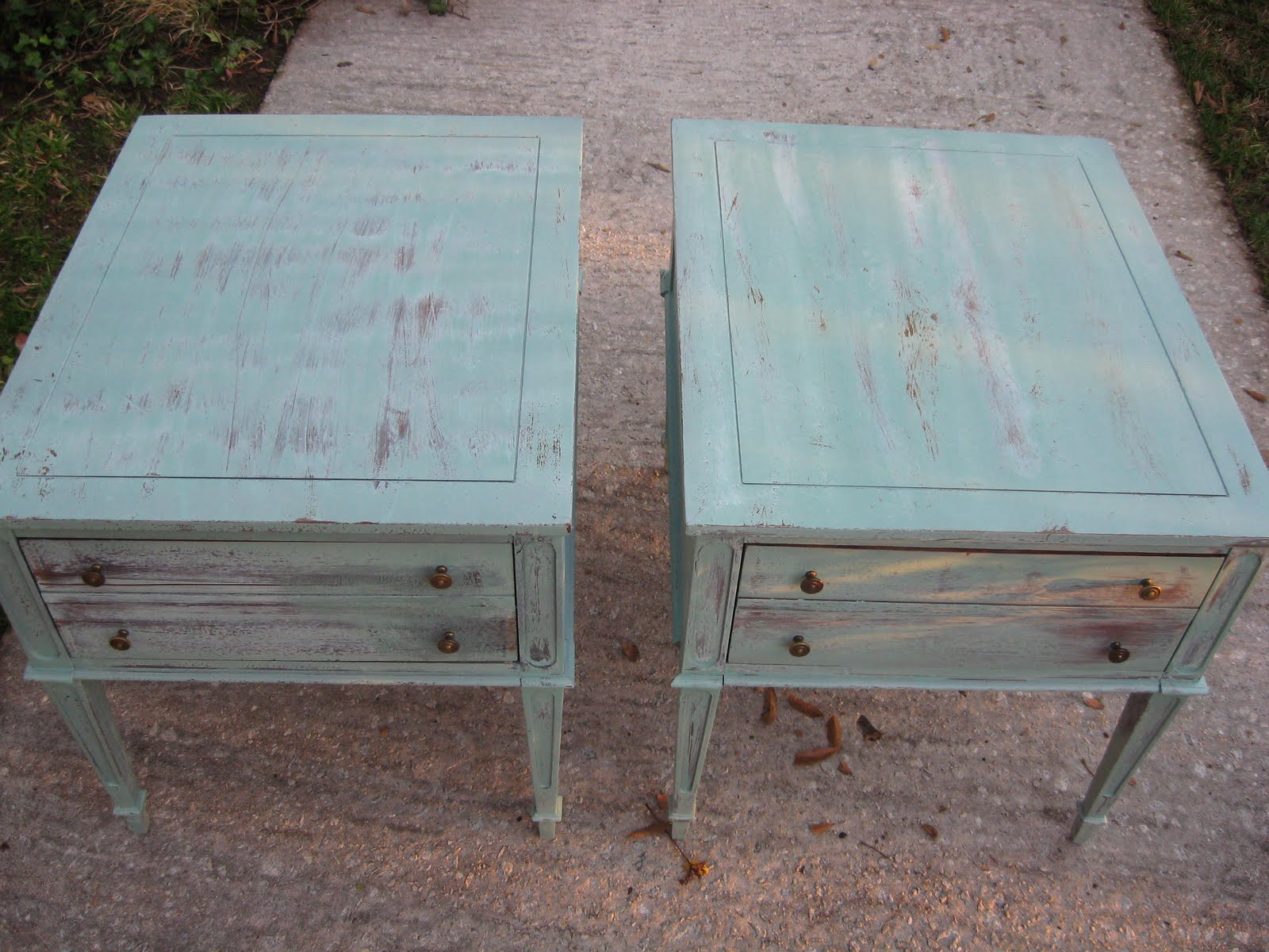 a new leaf furniture 2 white wash end tables sold