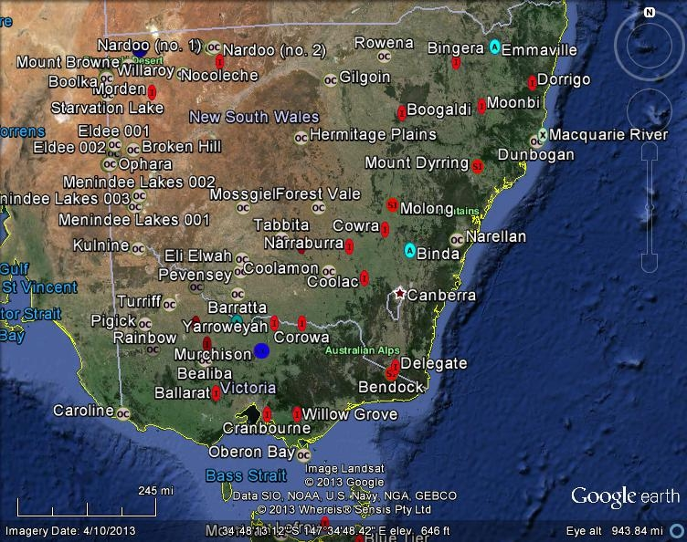Meteorite Maps and Impact Craters Worldwide NSW and Victoria