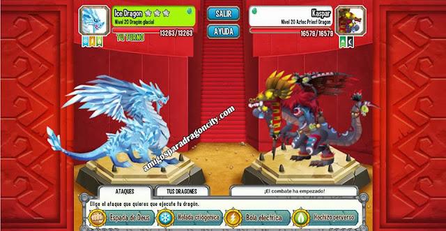 imagen de la batalla contra el dragon sacerdote azteca