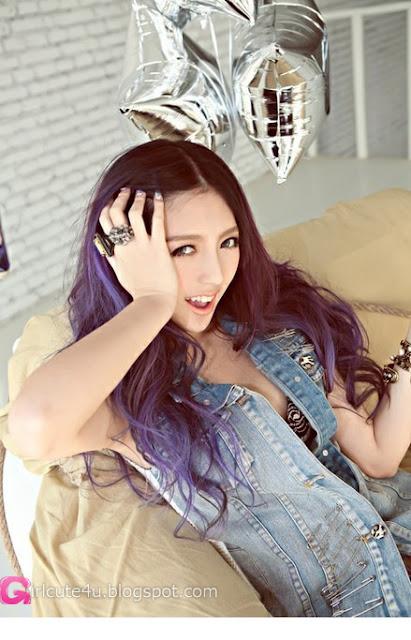 4 Si Chen Yuan - Small fresh denim -Very cute asian girl - girlcute4u.blogspot.com