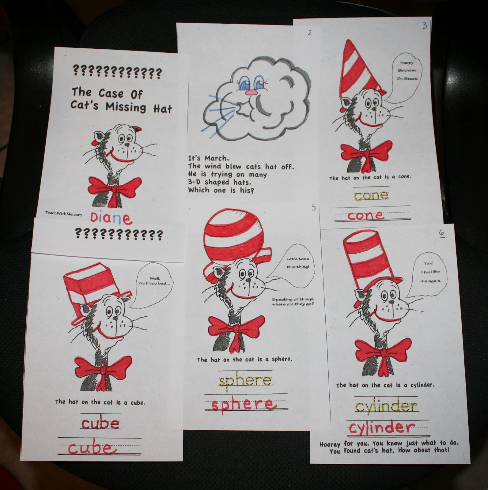 classroom freebies too pk 2 dr seuss cat in the hat 3 d shape book
