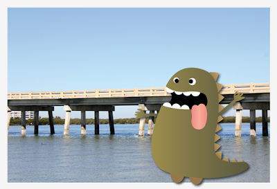 digital cartoon monster by a Mississippi river bridge