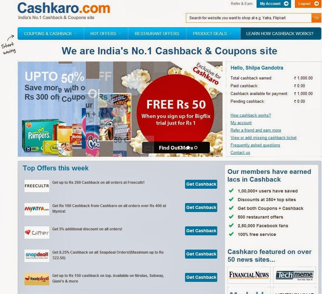 My Experience With Cashkaro.com