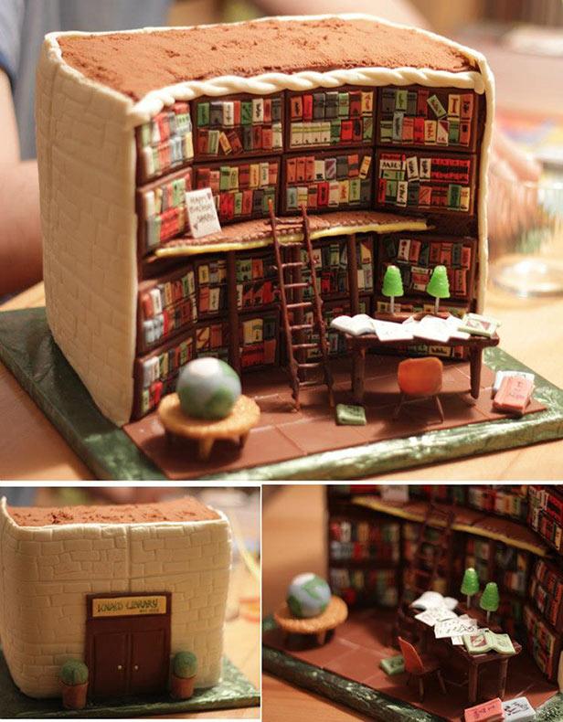 Sorprendente torta detallada que parece el interior de una biblioteca
