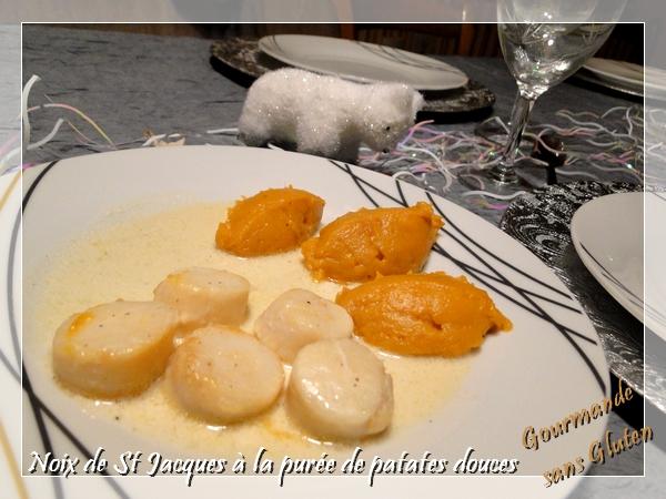 Noix de St Jacques à la purée de patate douces