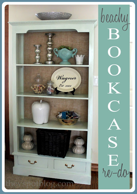 bookcase, coastal, tidal, blue, burlap, texture, mercury glass, diy, before and after.