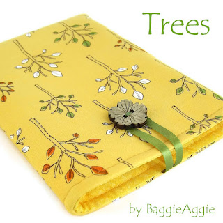 Yellow ladies' fabric Kindle case, handmade in Wales UK.
