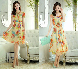 2014 New Summer Floral Garden Knee Length/Midi Dress