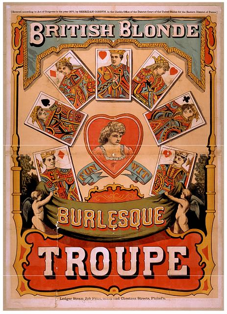 magic, circus, movies, theater, vintage, vintage posters, graphic design, free download, retro prints, classic posters, British Blonde Burlesque Troupe - Vintage Magic Poster