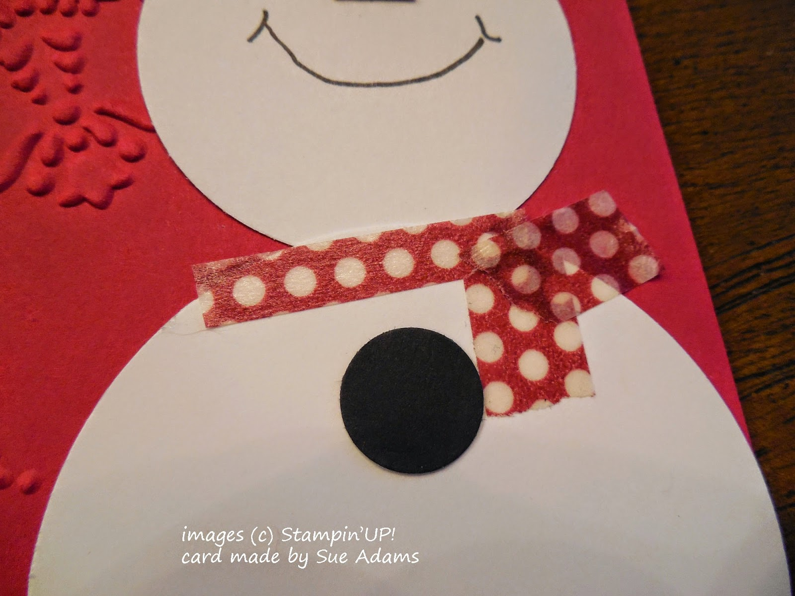 Washi Tape makes an easy, colorful scarf for the punch art snowman