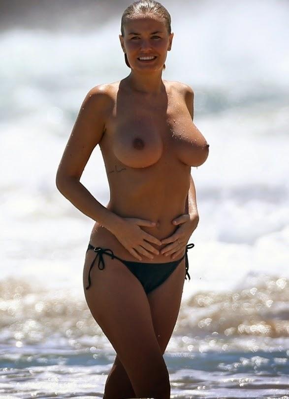 The lara bingle topless beach