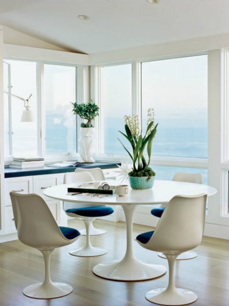 coastal mod dining room with vast ocean views