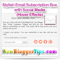 Add Stylish Email Subscription Box with Social Media Hover Effect