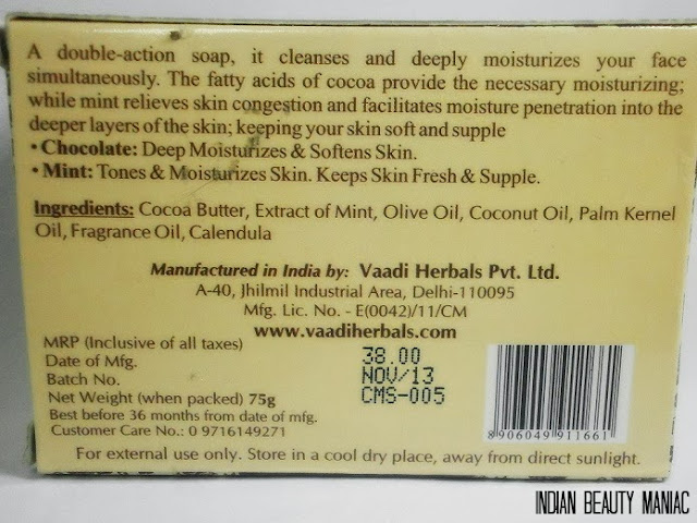 VAADI HERBALS TEMPTING CHOCOLATE & MINT SOAP Ingredient list and claims. Hand Made soap in India