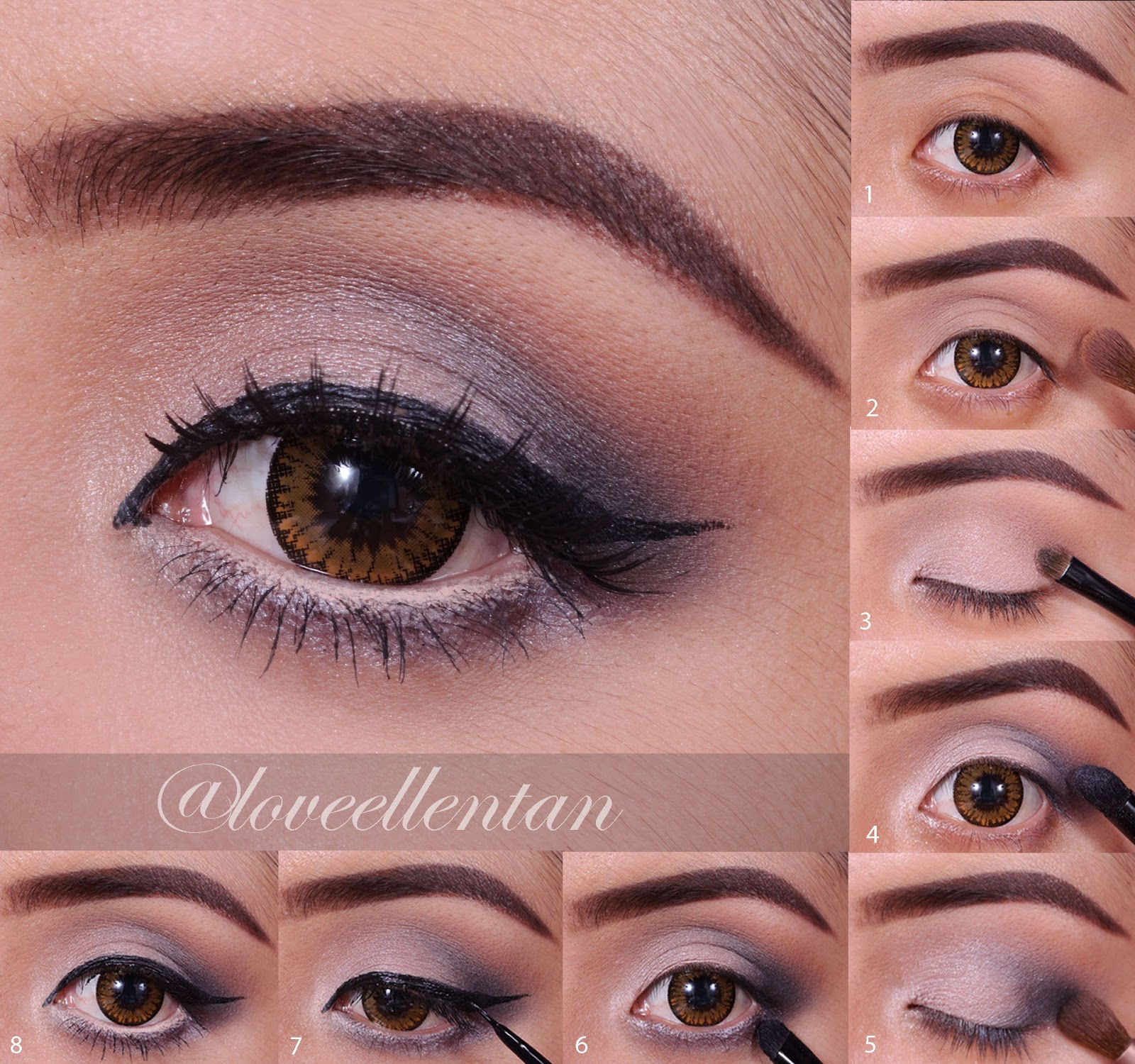Neutral Grey Eye Makeup Tutorial | ....♥ Loveellentan