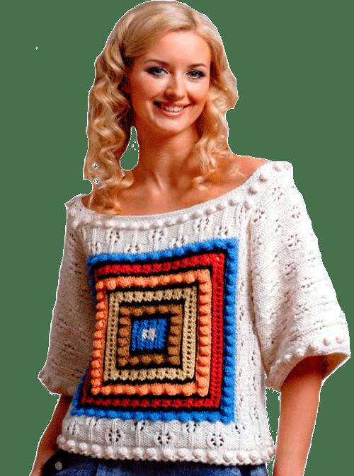 белый летний пуловер с квадратным орнаментом