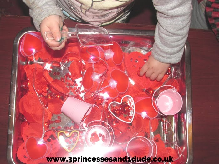 3 Princesses And 1 Dude Valentines Day Themed Sensory Bin