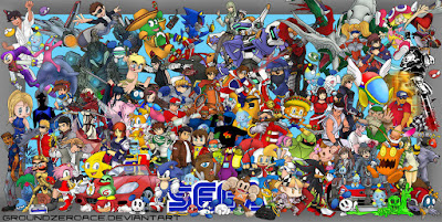 SEGA video game tribute collage featuring Sonic, Nights, Shenmue, Virtua Fighter, Super Monkey Ball, Kid Chameleon, and more!
